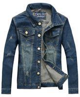 2015 Fashion Youth Boy student Style Denim jacket BROKEN HOLE Jeans short Washed Men demin jacket Slim chaqueta
