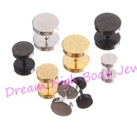 Earring straight barbells Round Ear Stud Titanium Black Steel Golden Frosted Newest 6mm 8mm 10mm Punk Fake Ear Plugs Expander