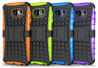 TPU&PC Hybrid Dual Armor Heavy Duty case For Samsung Galaxy S6 case with stand G920 Protective Skin Double Color Shock 50#