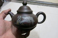 Old Chinese Handcraft Enameled  YiXing Purple Clay  (Purple stoneware) Teapot ,love,with mark,Free shipping
