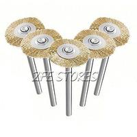 5pcs Brass Wire Brush 22mm For Dremel Proxxon Multifunction Rotary Tools-3mm shank