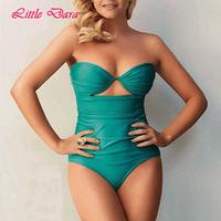 [little dara] 2015 women green color one piece monokini swimwear sexy cut out swimsuit  retro swim suit push up 3088