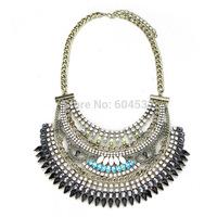 2015 Latest Luxury Layers Crystals Chunky Statement Bib Necklaces Fashion vintage Bronze Women Jewelry