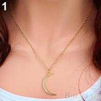 Womens Crystal Half Moon Shape Charm Pendant Golden Chain Necklace