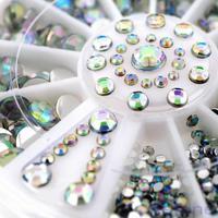 M65 1PC Shiny White Acrylic Nail Art Tips Decoration 5 Sizes Glitter Rhinestones Wheel Free Shipping