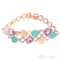 Sweet Women's Multi Colorful Crystal Opal Bracelet Two Layer Bangle Chain Fashion Jewelry