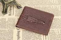 2015 designer men Waxy leather wallets, crocodile head genuine leather purse for men