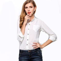 2015 New Solid Blouse Stand Collar Metal buttons plus sizes long-sleeved shirt women Blouse Chiffon S-L W4494