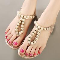 Summer Ladies Pink Gold Flat Heels Open Toe Rhinestone Beading Shoes Women Fashion Retro Cute Elastic Cut Out Thone Sandals