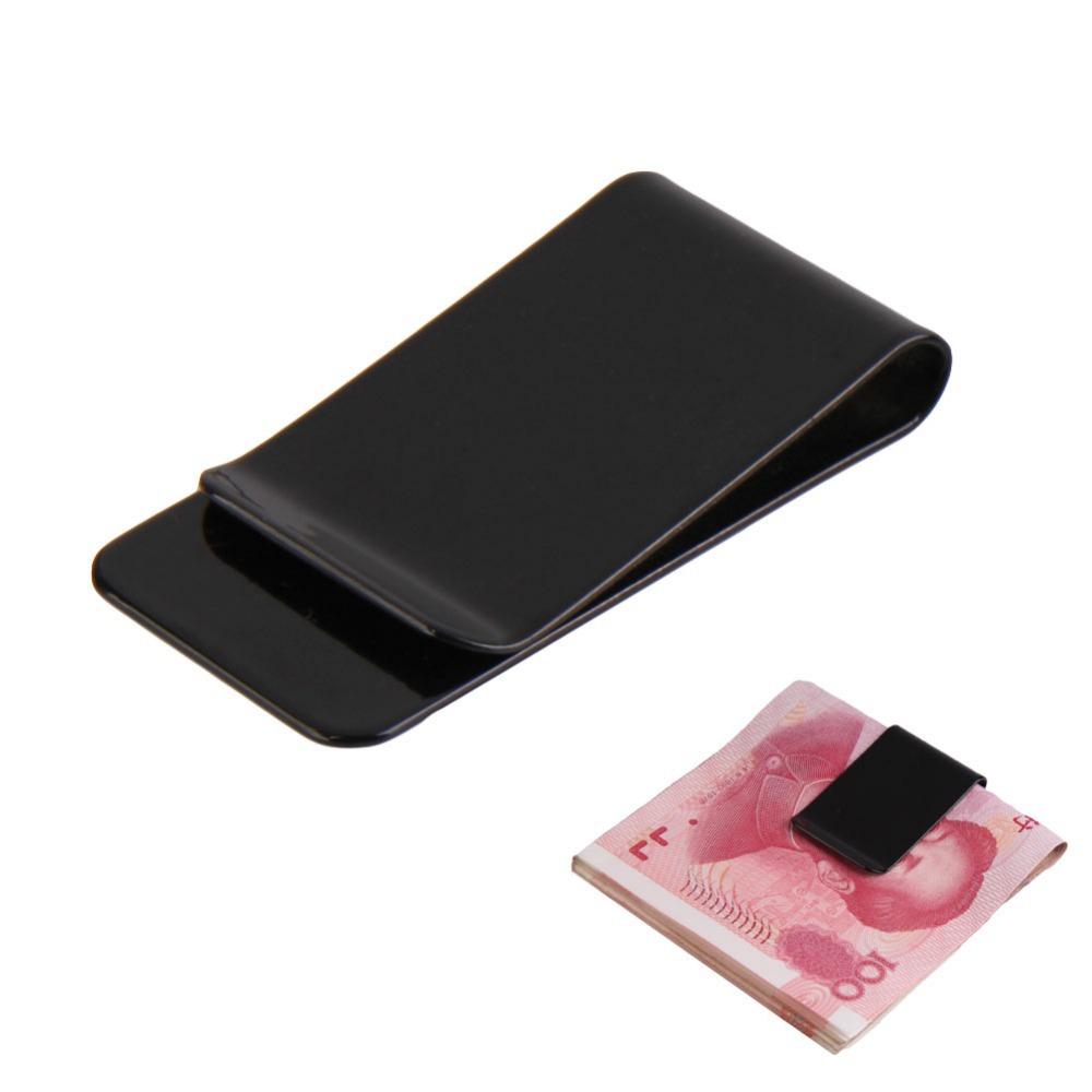 Moda nova aço inoxidável preto Slim Pocket bolsa dinheiro Clip dinheiro titular H1E1