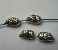 50Pcs Tibetan silver Zinc Alloy fish Charm Spacer Beads 16x9x7mm fits European Style Bracelets Necklaces ZH4016