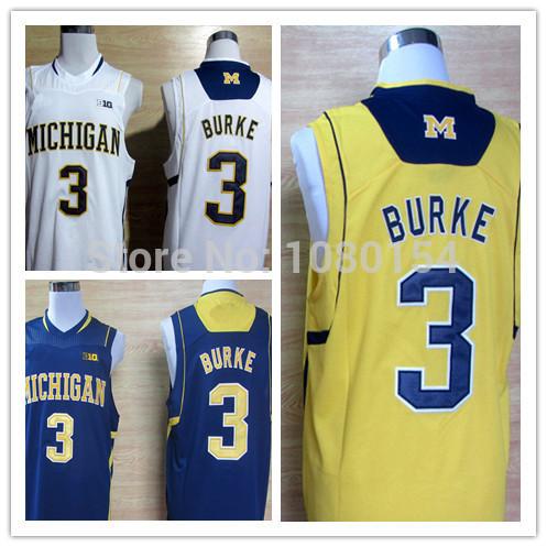 Free shipping,2014 New Style NCAA Men's College Basketball Jersey Michigan Wolverines Trey Burke 3 Big 10 Patch White Yellow Sti(China (Mainland))