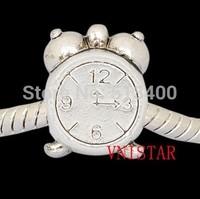 70pcs/lot Vnistar size in 10*14mm big hole alarm clock shaped european bead  PBD1044