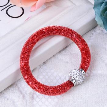 Горячая полный сияющий многоцветный кристалл звездной пыли браслет с накруткой сетки ...