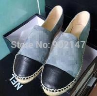 Newest Platform Espadrilles shoes CC Canvas Woman's shoes Upgrade straw braid genuine leather shoes Comfortable flat shoes