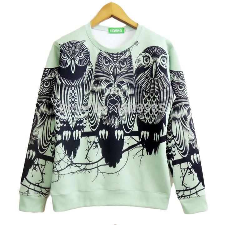 Autumn Fashion Women Autumn New Fashion Women Men Sketch Owl Print Pullover 3d Galaxy Sweatshirts