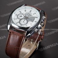 Fashion Male Analog Dress Clock Full White Round Dial Brown Leather Band Belt Men Quartz Casual Wristwatch Mens Relogio / PHN064