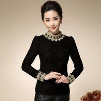 women bodycon blouses & shirts plus size xl xxl xxxl 3xl velvet thickening t-shirt lace basic color shirt elegant women blouses