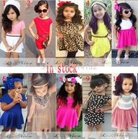 Retail 2015 girls clothing summer European American baby girls dress Short sleeve children kids girl dresses 10 style can choose
