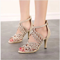 2015 Summer New Women High Heel Sandals Fashion Casual Blink Rhinestone Peep Toe Hollow Out Thin Heel For Female