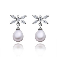Wholesale Brand New Stud Earrings For Women New Fashion 18K White Gold Earrings Luxury Elegant Pearl Earrings For Women PE009