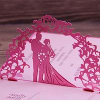 Fuchsia Invitation Wedding Card Laser Cut Art Paper 3D Pop Up Design Elegant Wedding Souvenirs 50pcs Free Shipping