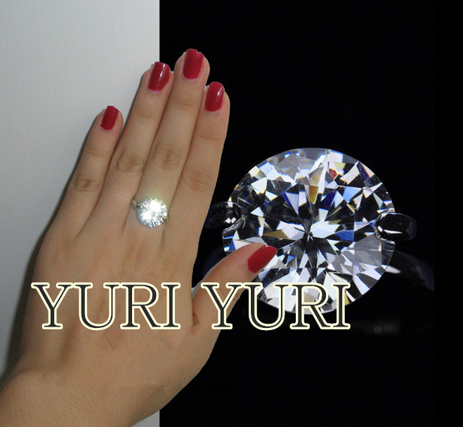 High imitation diamond ring, desert star of 18 k white gold plated eight heart, eight arrows Swiss diamond giant ring(China (Mainland))
