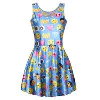 New Fashion Blue Women Skated Emoji Clothing Casule Emoji Dress Round Collar Girls Dress Skater Dress Summer Dress