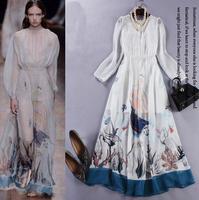 New In 2015 Spring Designer Fashion Runway Maxi Dress Women's Charming Long Sleeve Printed Holiday Long Dress