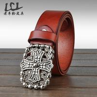 Mens leather belts 100% genuine leather men luxury waist jeans belt Black straps Brand free shipping LP2014048