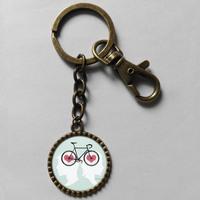 Wholesale 6$  love men women bike Keyring Bicycle Key Chain Art Cute Keychain Gift Vintage lot free shipping