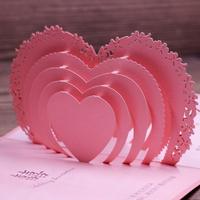 3D Pop Up Heart Design Wedding Invitation Card Popular Fuchsia Wedding Card Words Printing Free 50pcs a Set