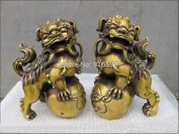 "13""China Kung Fu Fighting handwork Brass Kongfu Lion Dancing Roll a ball pair St"