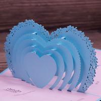 2015 New Arrival Baby Blue Handmade Laser Cut Church 250g Pearl Paper Wedding Invitation Cards 50pcs