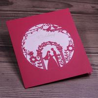 Fairy Wedding Ceremony Design Red Art Paper Laser Cut Wedding Invitation Cards 2015 Hot Sale 50pcs Free Shipping