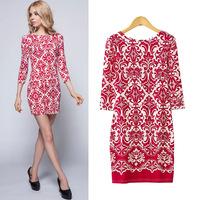 Spring 2015 Fashion Backless O-neck Long Sleeve Baroque Print Mini Dress for Women Clothing Backless Vestido