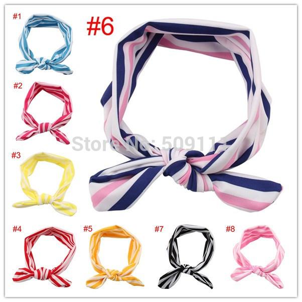 Children girls fashion headwear Baby headband Head wraps Knit Cotton knot tie headwrap stretchy Hair Accessories 10pcs HB337(China (Mainland))