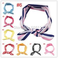 Children girls fashion headwear Baby headband Head wraps Knit Cotton knot tie headwrap stretchy Hair Accessories 10pcs HB337