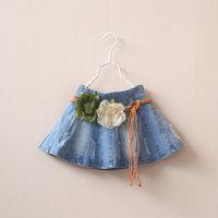 New 2015 spring girls flower belt denim skirt 5pcs/lot