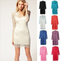 Free Shipping!The New Arrival Sexy Womens V-neck Lace Slim Cocktail Clubbing Party Mini Dress 4 Sizes 7 Colors