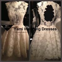 Tarik Ediz Dress 2015 Real Sample Sexy Open Back Romantic Ivory Lace Short Cocktail Dresses Party Dresses Custom Made MR-003