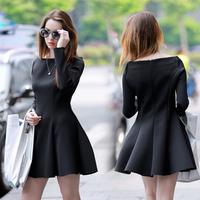 2015 women's spring small fresh tutu collar temperament was thin long-sleeved dresses vestido free shipping