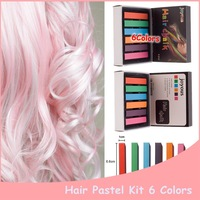 1set 66 x 10 x 10mm 6 Colors Temporary Pastel Hair Dye  Chalk Color Professional  Blue For Mascara Hair  Chalk Crayon Henna