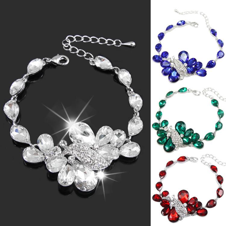 2015 New Brand Wedding Bridal Bracelet for Women Luxury Austrian Crystal Bracelets butterfly bracelet design jewelry brtj70(China (Mainland))