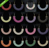Hot Sale Jewelry Choker Chunky Round Beads Bib Statement Pendant Necklaces #11V