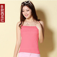 Wholesale Free Shipping Women's Hot Sales Vest Lace Camis Slim Modal Fashion T-shirt 1pc/lot