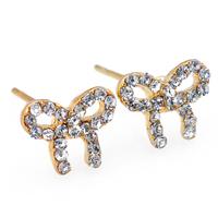 2015 Hot Sale Golden Women Earrings Fashion Crystal Ctue Bow Earring Stud Jewelry For Women Best Gift Christmas ZG-0100