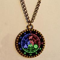Wholesale 6$ Lot Legend Of Zelda Triforce Necklace 12 Constellation Star Merchandise Pendant Celtic Chain Jewelry Vintage Gift