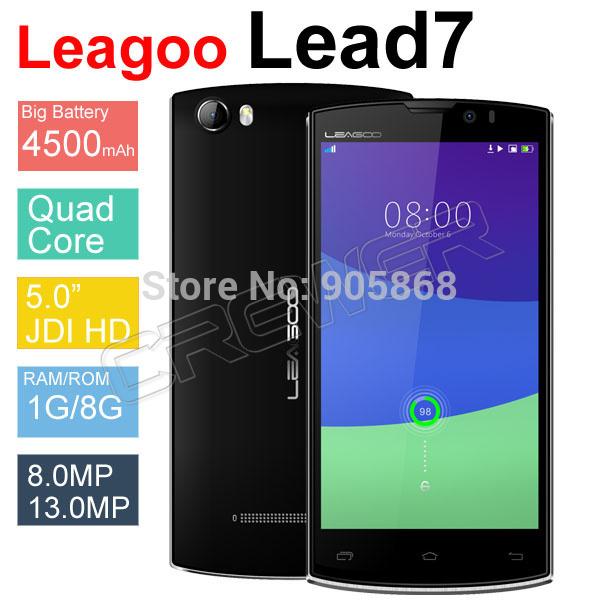 "Original 5"" Leagoo Lead 7 MTK6582 Quad Core 1.3GHz Android 4.4 Mobile Phone Dual SIM Camera 4500mAh GPS OTG WCDMA 3G Phone(China (Mainland))"