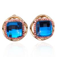 2015 New Golden Big Gem Women Earrings Stud Fashion Crystal Earring Women Jewelry For Women Best Gift Christmas ZG-0102